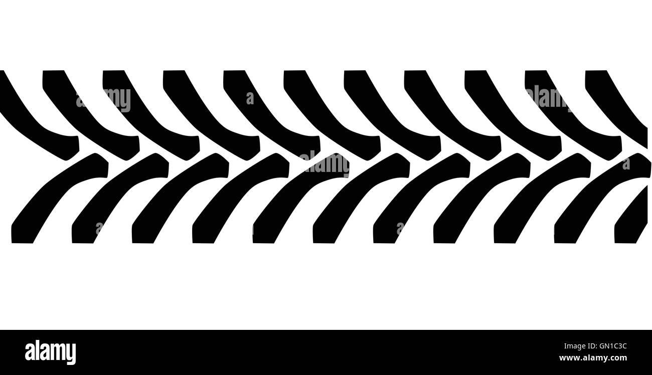 Tractor Tyre Tread Marks - Stock Vector