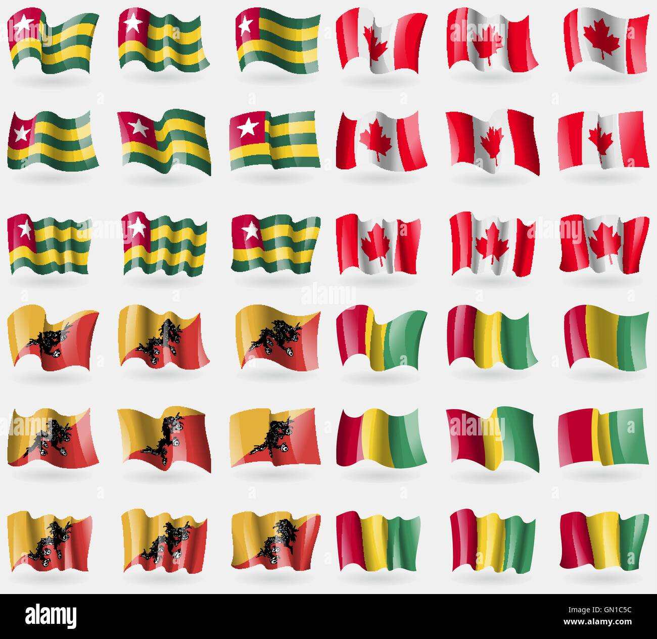 Togo, Canada, Bhutan, Guinea. Set of 36 flags of the countries of the world. Vector - Stock Vector