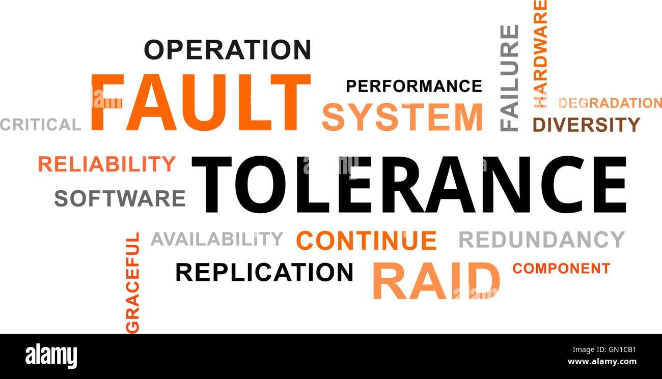 word cloud - fault tolerance - Stock Image