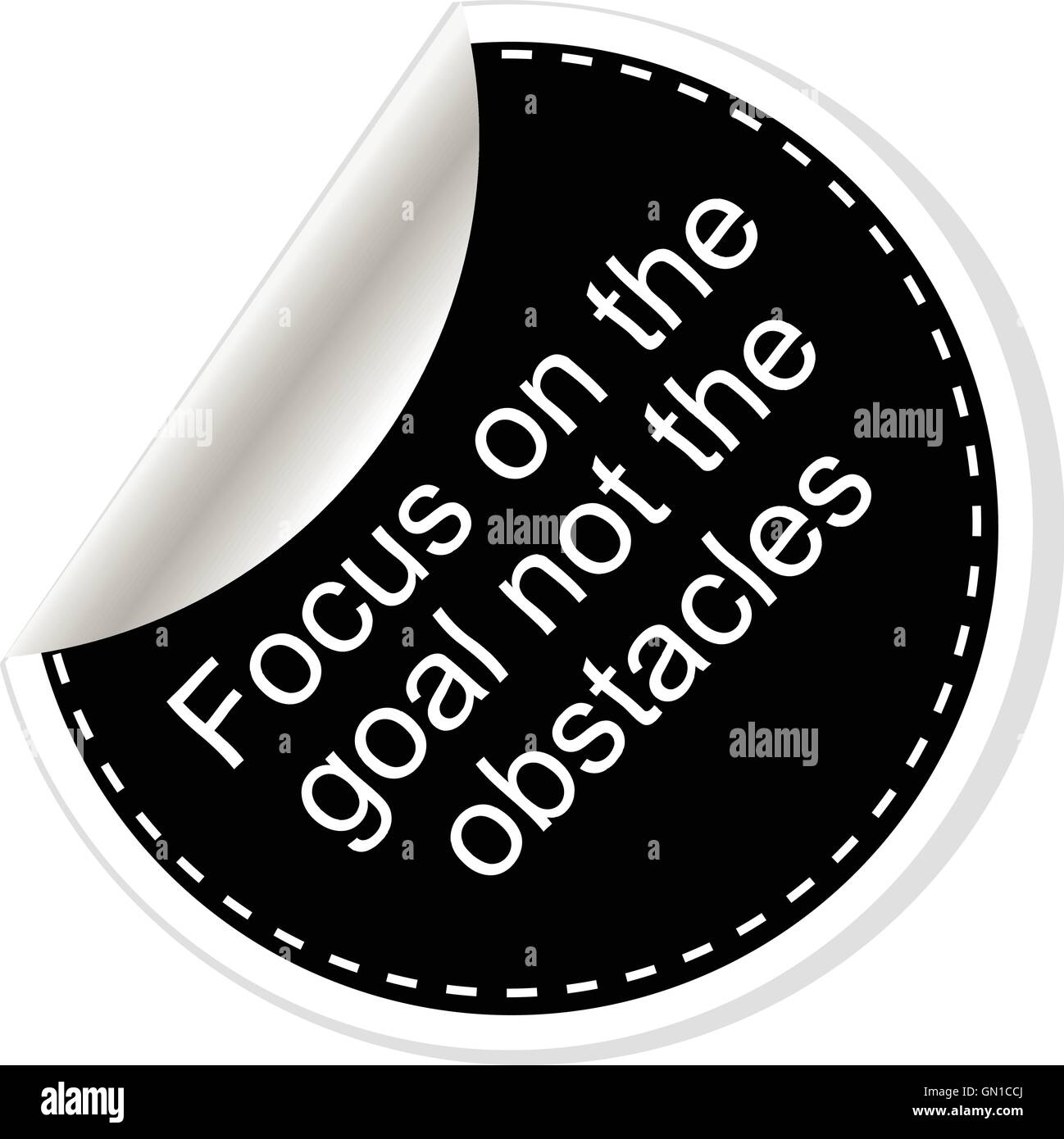 Focus on the goal not the obstacles. Inspirational motivational quote. Simple trendy design. Black and white stickers. - Stock Image