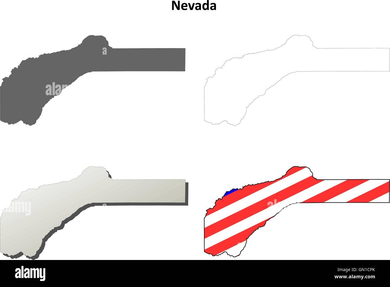 Nevada County California Outline Map Set