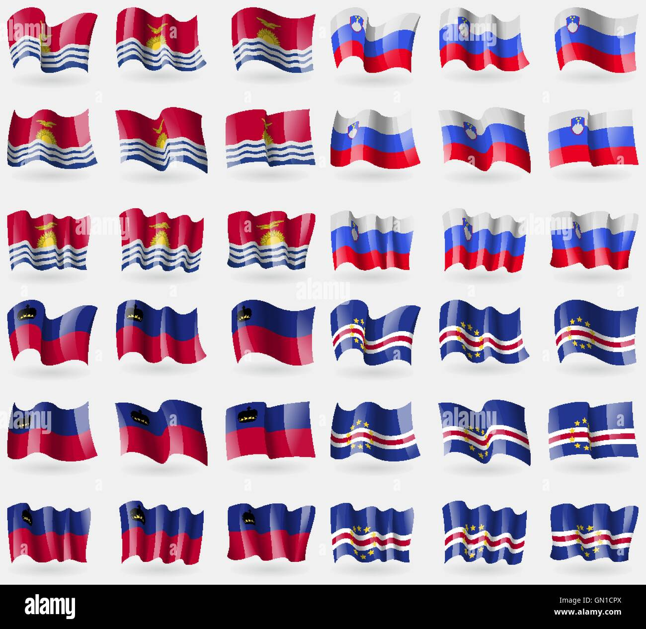 Kiribati, Slovenia, Liechtenstein, Cape Verde. Set of 36 flags of the countries of the world. Vector - Stock Image