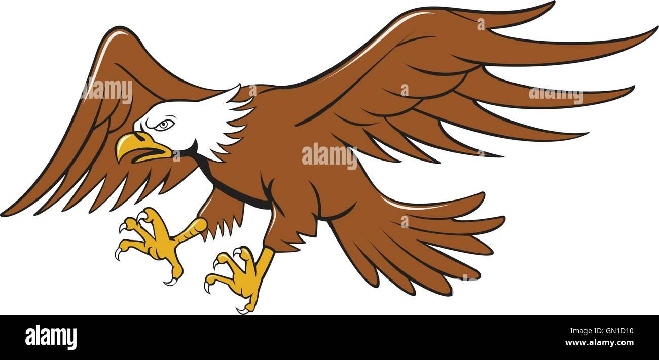 american bald eagle swooping cartoon stock vector art illustration rh alamy com bald eagle cartoon images bald eagle cartoon head
