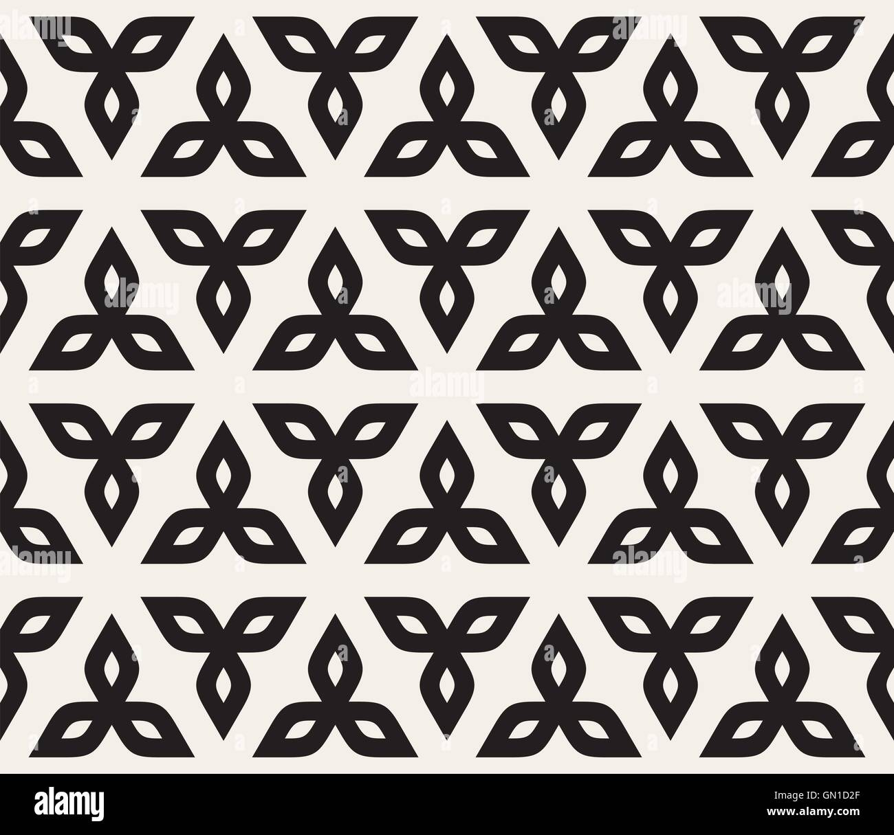 Vector Seamless Black And White Floral Rounded Triangle Petals Pattern - Stock Vector