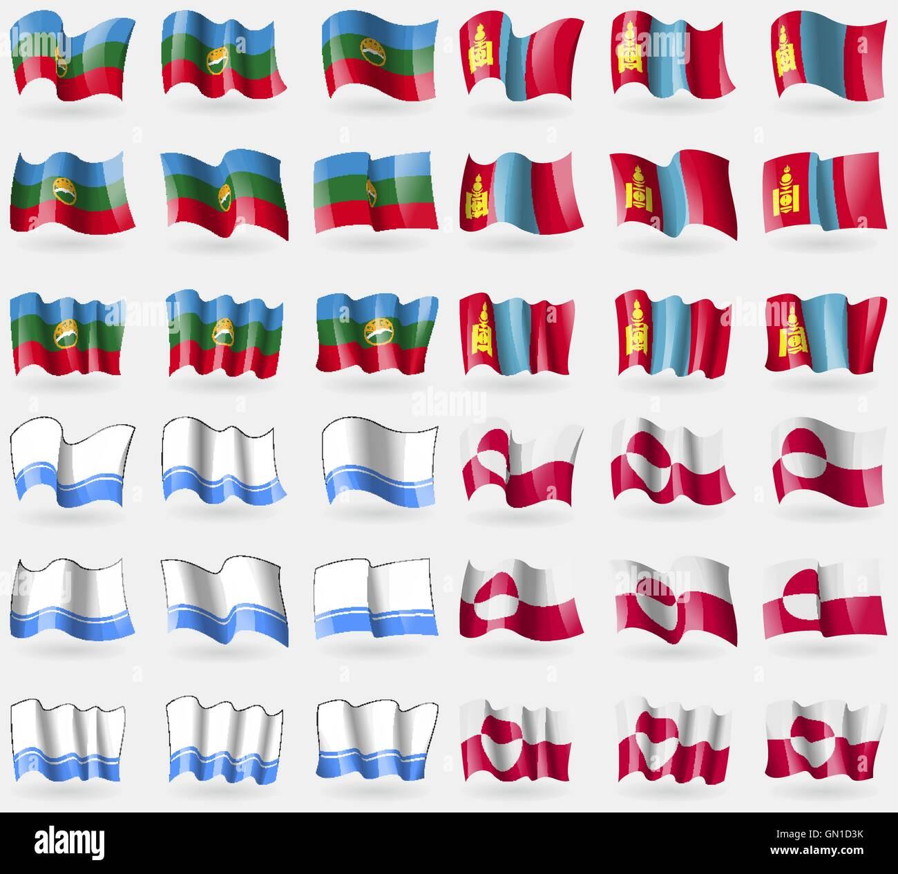 KarachayCherkessia, Mongolia, Altai Republic, Greenland. Set of 36 flags of the countries of the world. Vector - Stock Vector