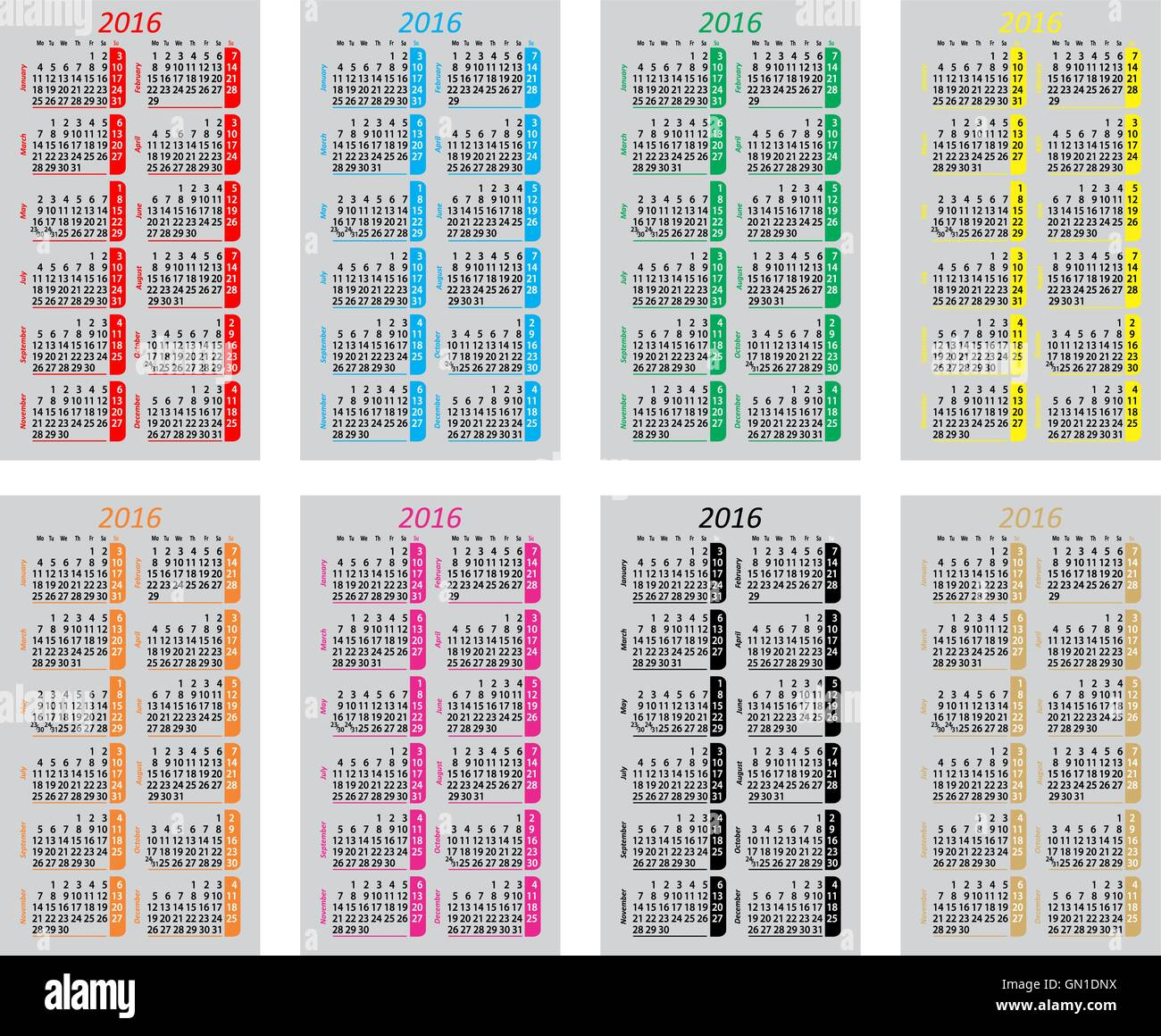 set colorful pocket calendars for 2016 stock vector art