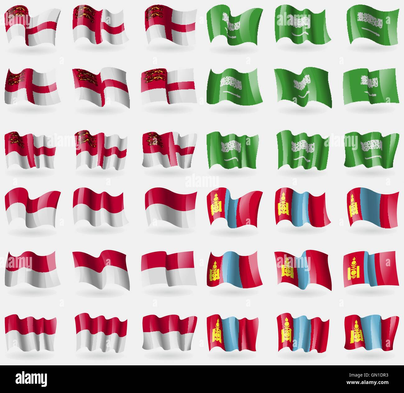Sark, Saudi Arabia, Indonesia, Mongolia. Set of 36 flags of the countries of the world. Vector - Stock Vector