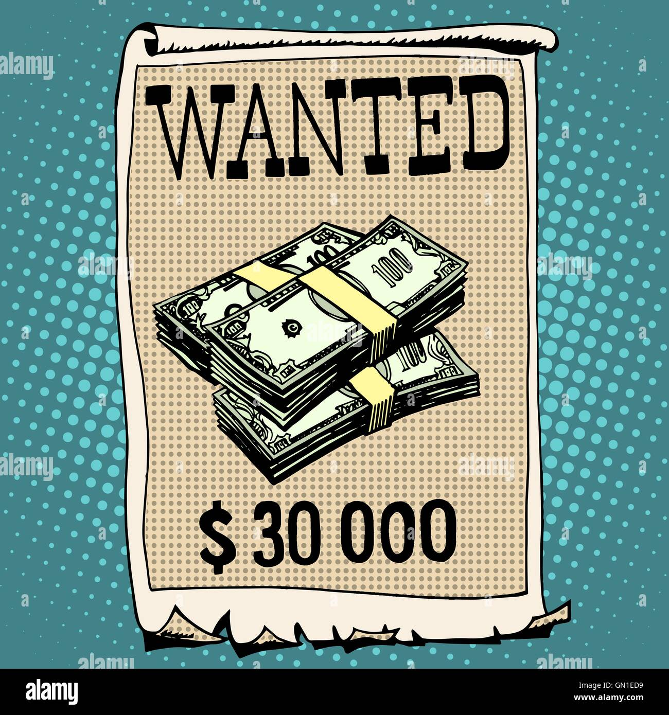 poster wanted criminal with a reward - Stock Image