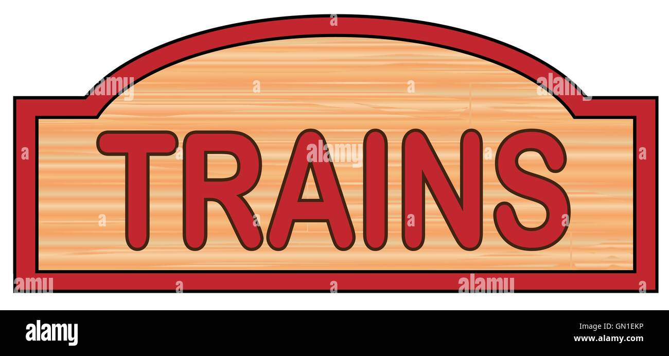 Wooden Trains Sign - Stock Vector