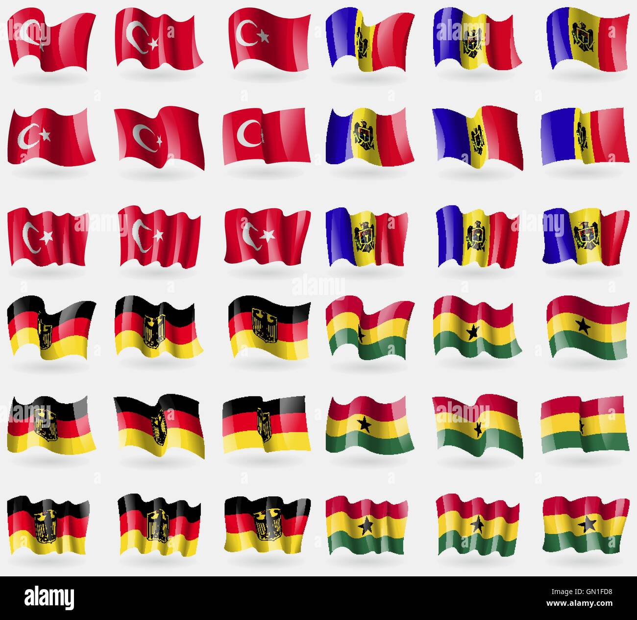 Turkey, Moldova, Germany, Ghana. Set of 36 flags of the countries of the world. Vector - Stock Vector