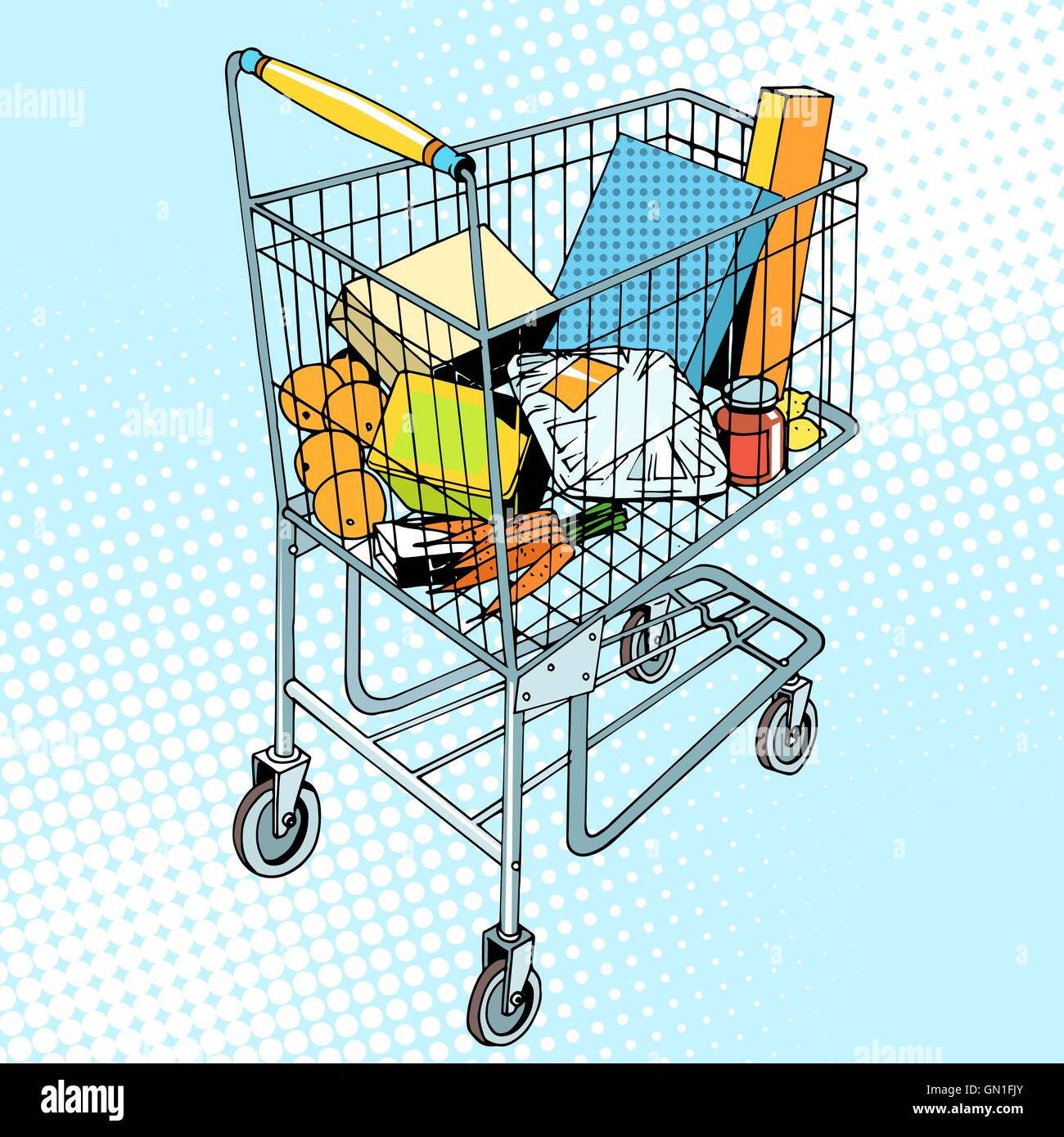 grocery trolley with food - Stock Vector