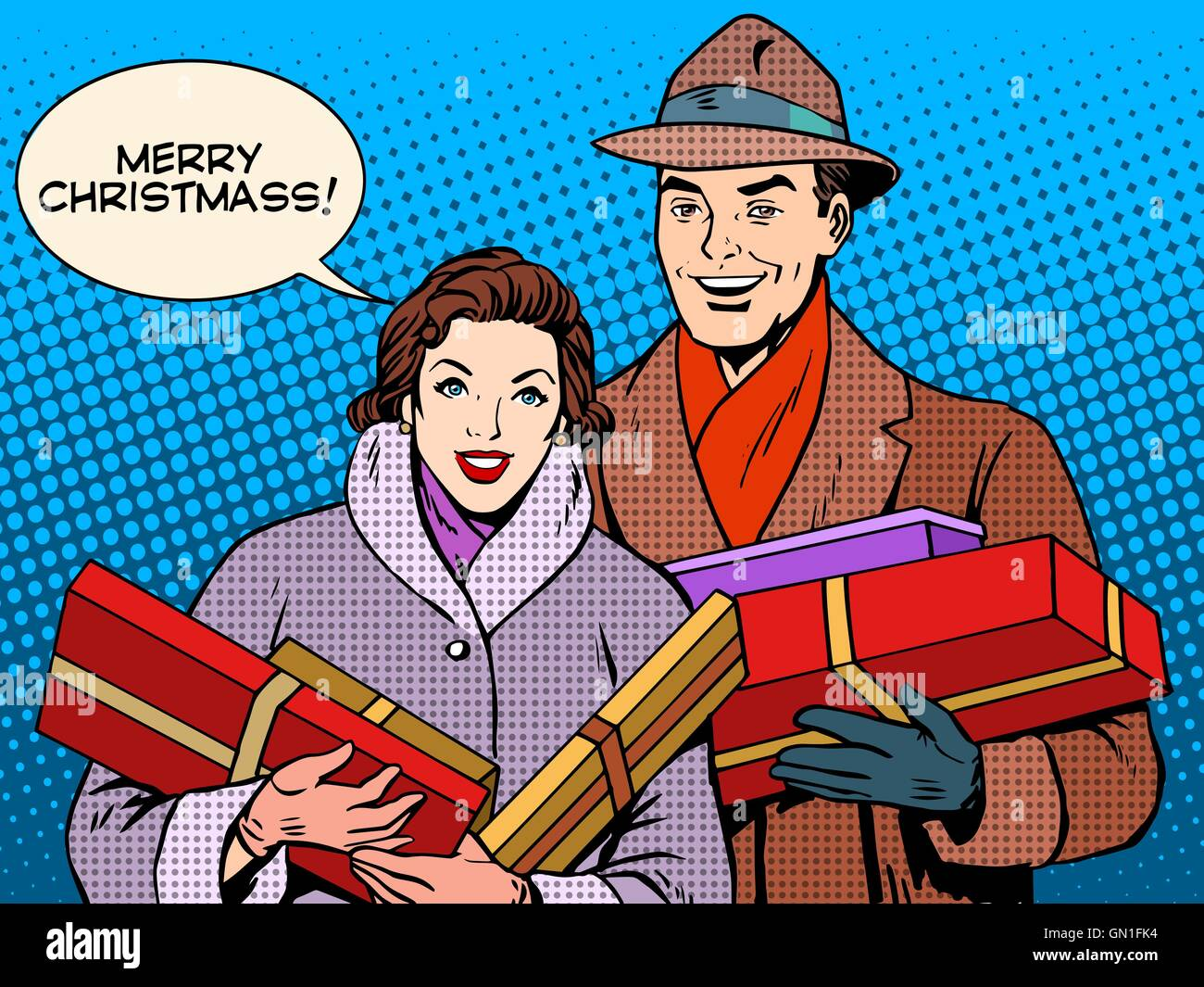 Happy couple with Christmas gifts - Stock Vector