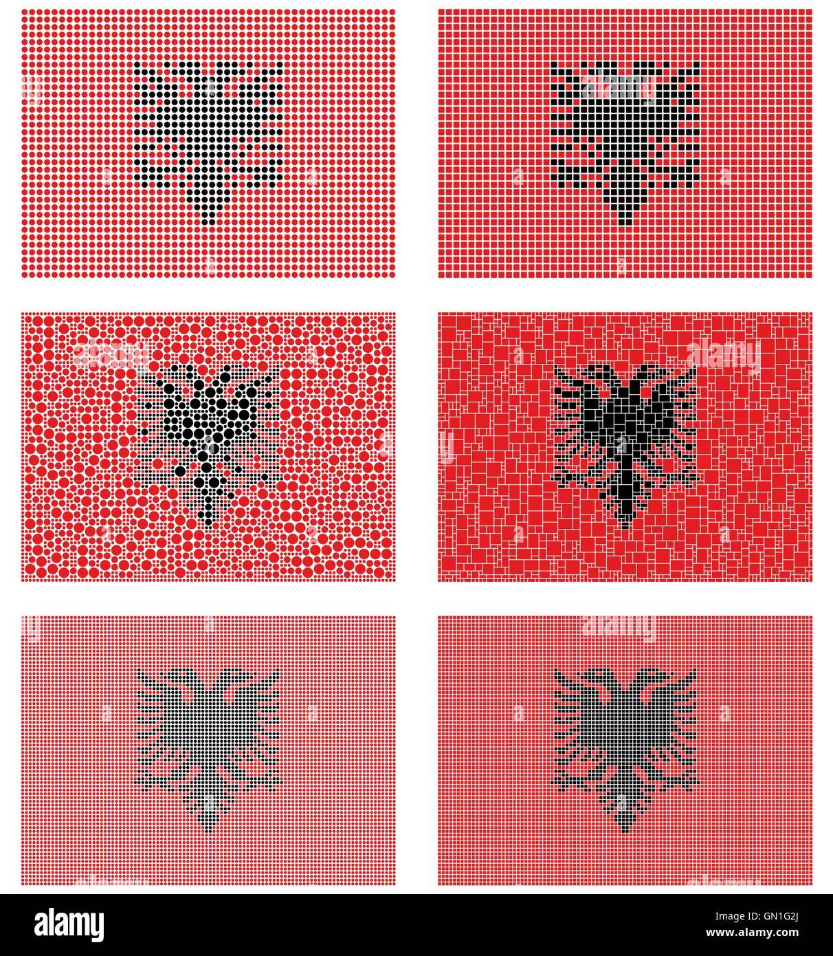 Mosaic Albania flag set - Stock Vector