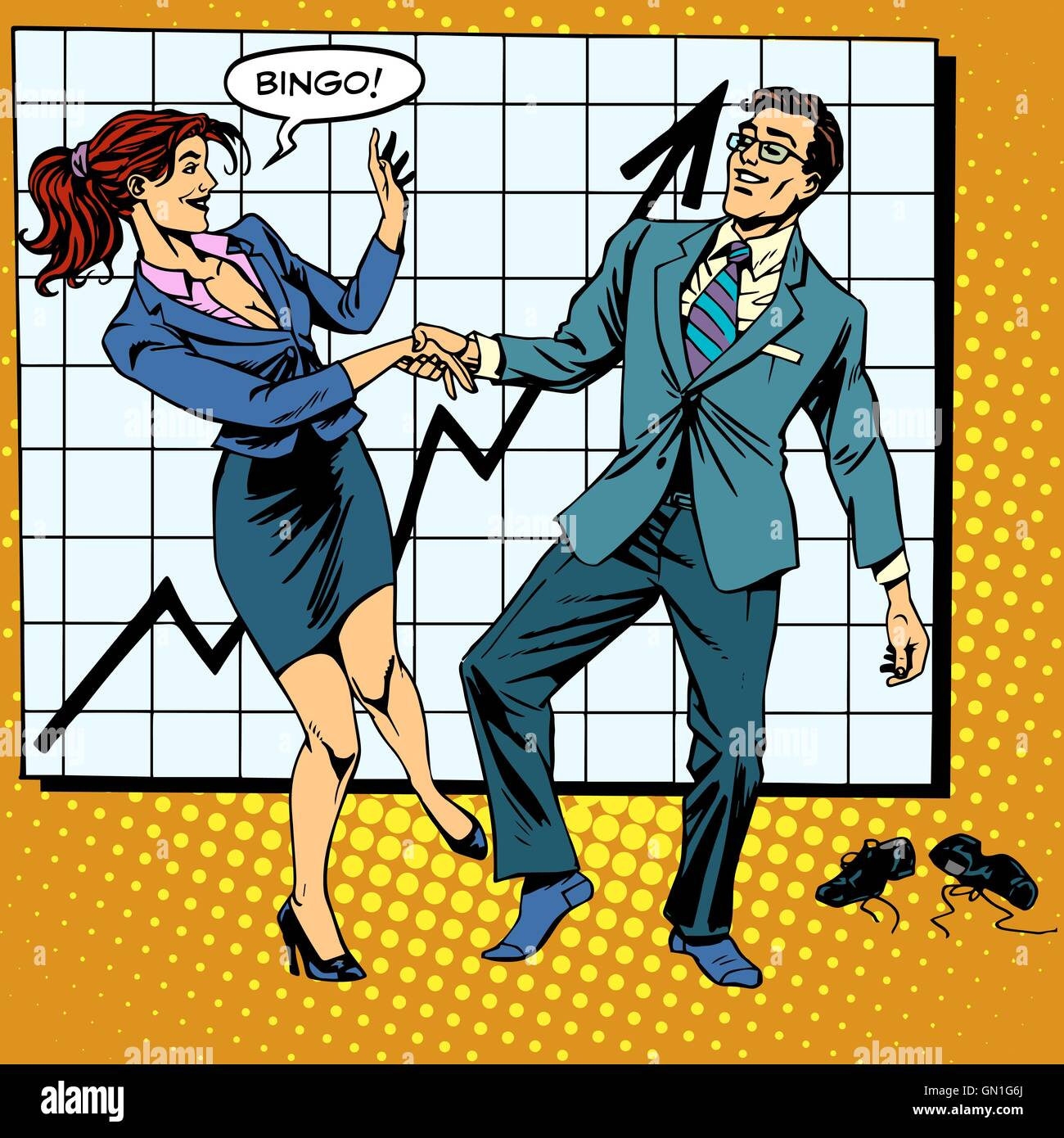 Bingo financial success dance business - Stock Vector