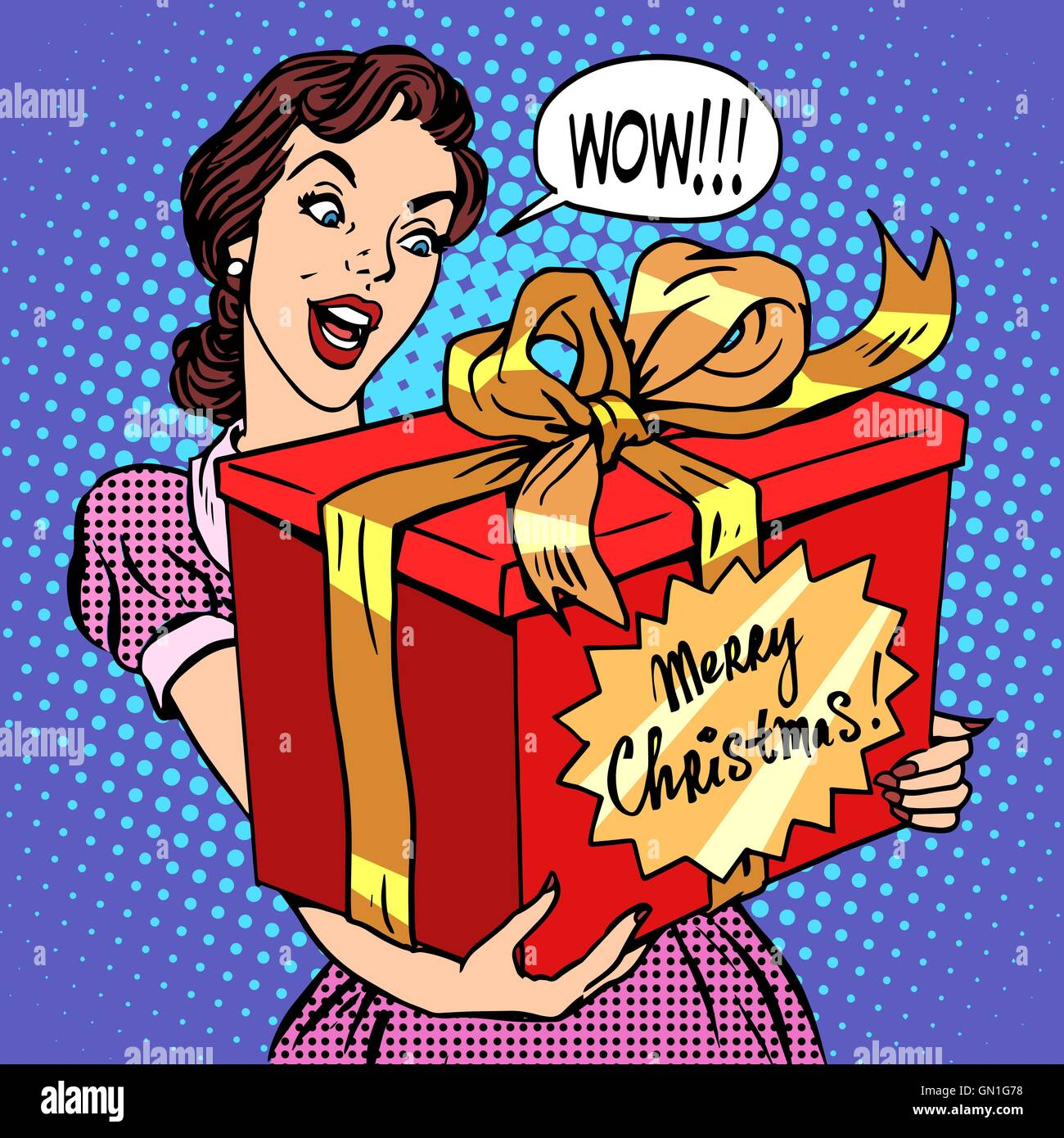 Woman with Christmas gift - Stock Vector