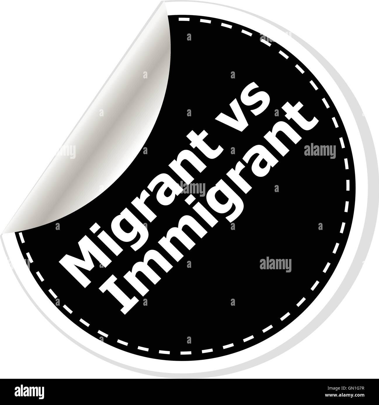 migrant vs immigrant. vector illustration of realistic stickers or notes. Black and white style. - Stock Vector