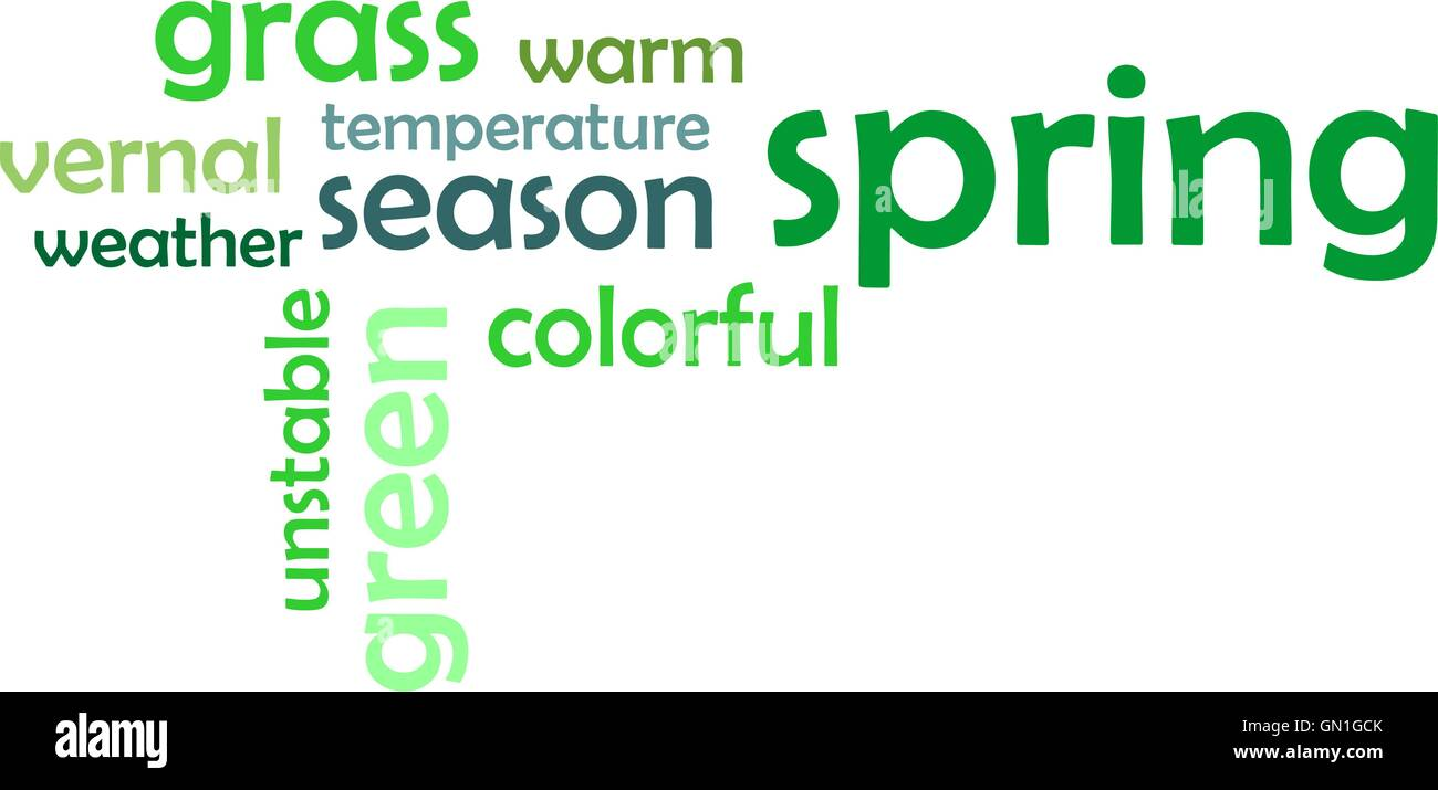 word cloud - spring - Stock Image
