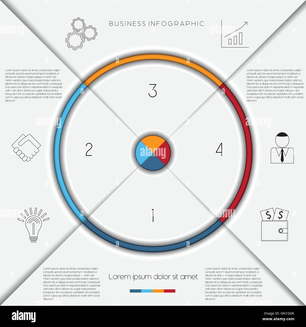 Infographic business process or workflow template with text areas on infographic business process or workflow template with text areas on 4 positions friedricerecipe Gallery