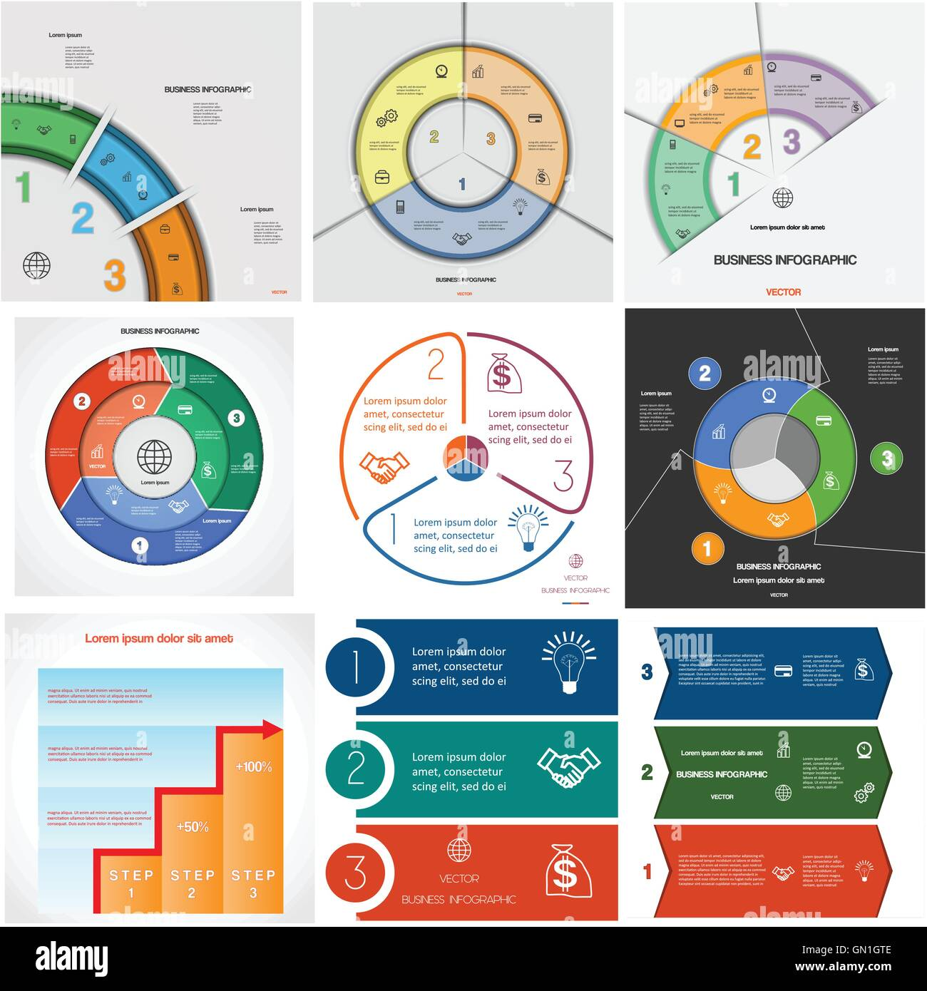 Set 9 templates, Infographics for business conceptual cyclic processes from three positions - Stock Image