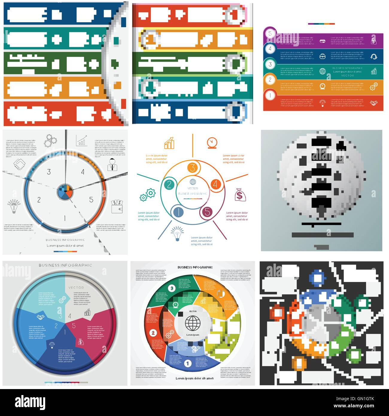 Set templates Infographics for business conceptual cyclic processes on five positions - Stock Image