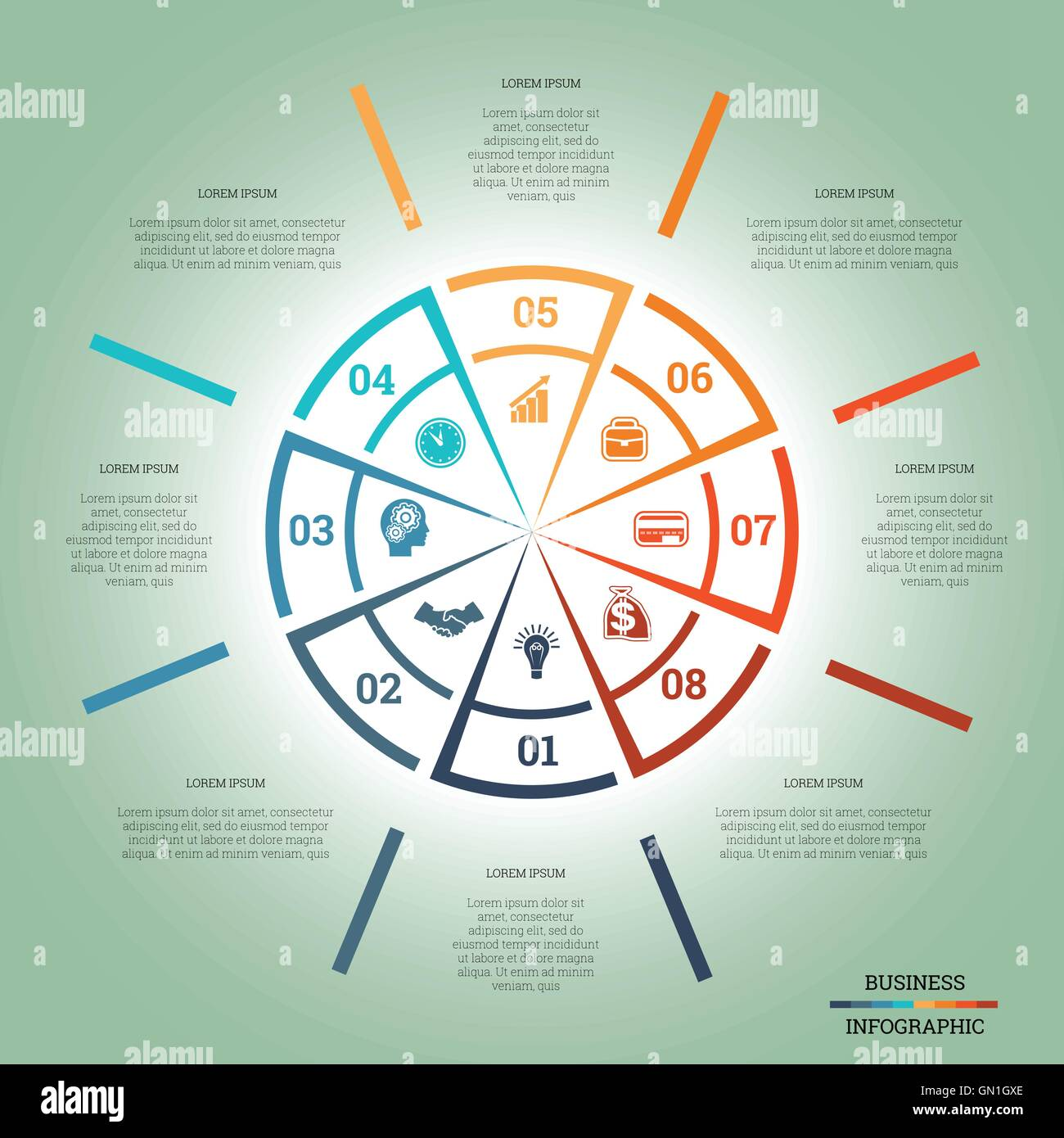 Infographic Pie Chart Template Colourful Circle From Lines With Text