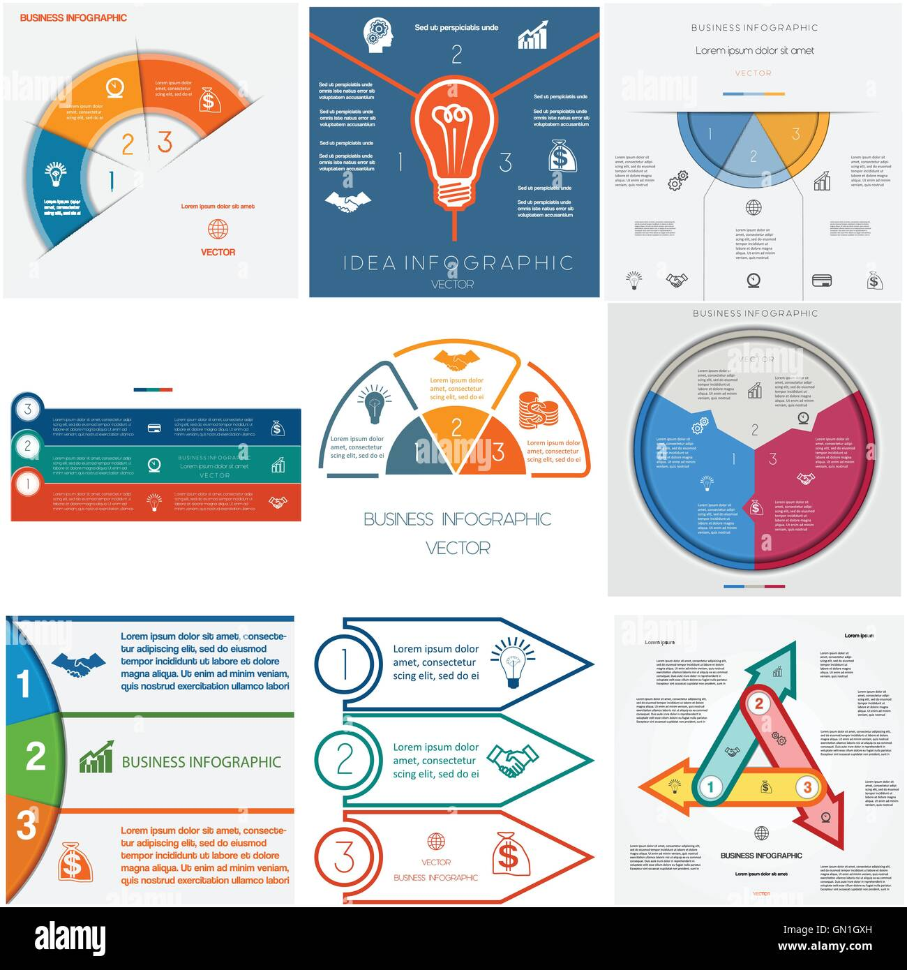 Set 9 templates Infographics for business conceptual cyclic processes.Three positions for text area - Stock Image