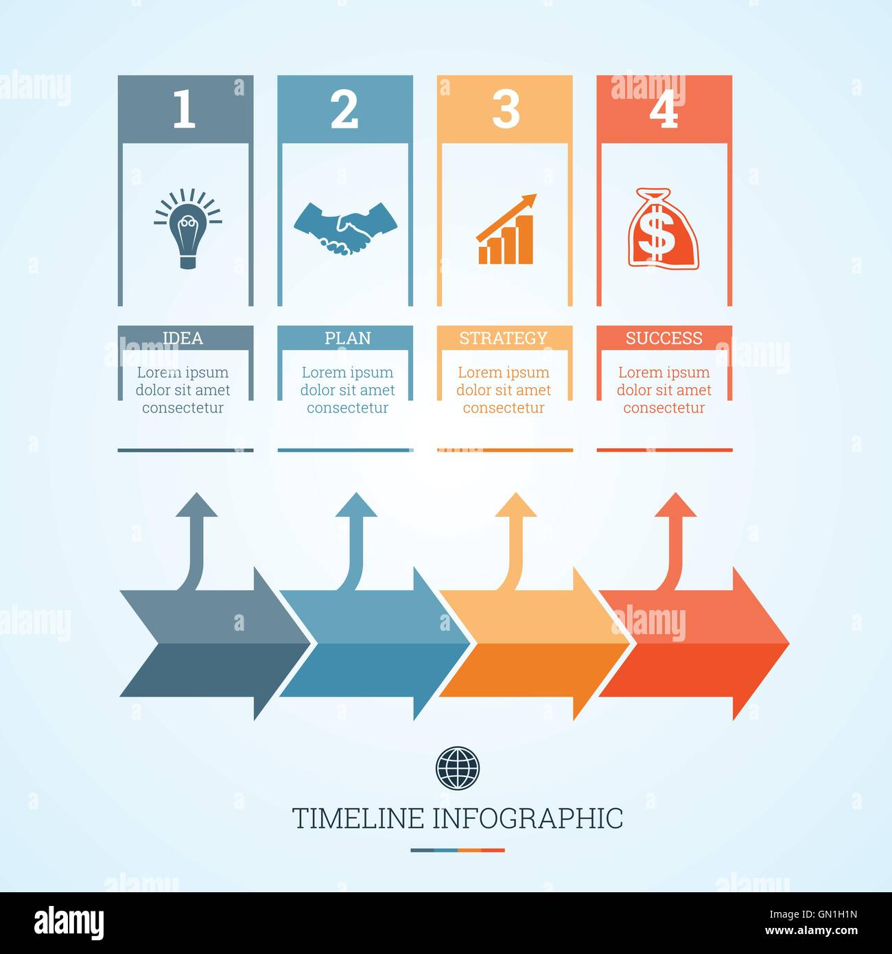 conceptual business timeline infographic vector design template for