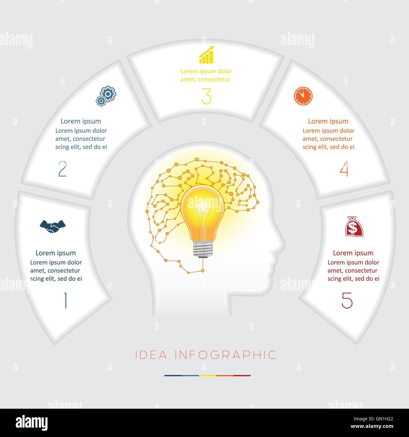 Head Lightbulb Brain Conceptual Idea Infographics Vector Template Infographic With Light Bulb For Creative Diagram Five Positions Text Area Possible To Use Workflow