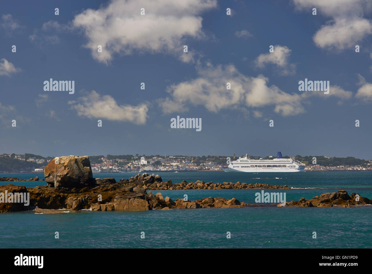 Cruise liners at anchor off St Peter Port Harbour,  P&O Oriana - Stock Image