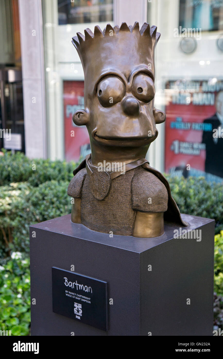 BARTMAN A statue of Bart Simpson outside the News Corp. building on Avenue of the Americas in MIdtown Manhattan, - Stock Image