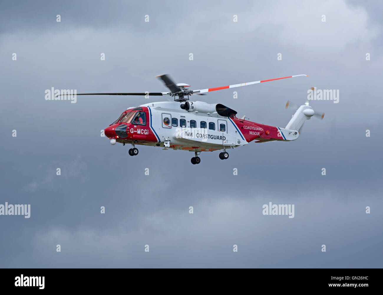 Sikorsky S-92A Coastguard SAR Helicopter (G-MCGI) based at Inverness. SCO 11,200. - Stock Image