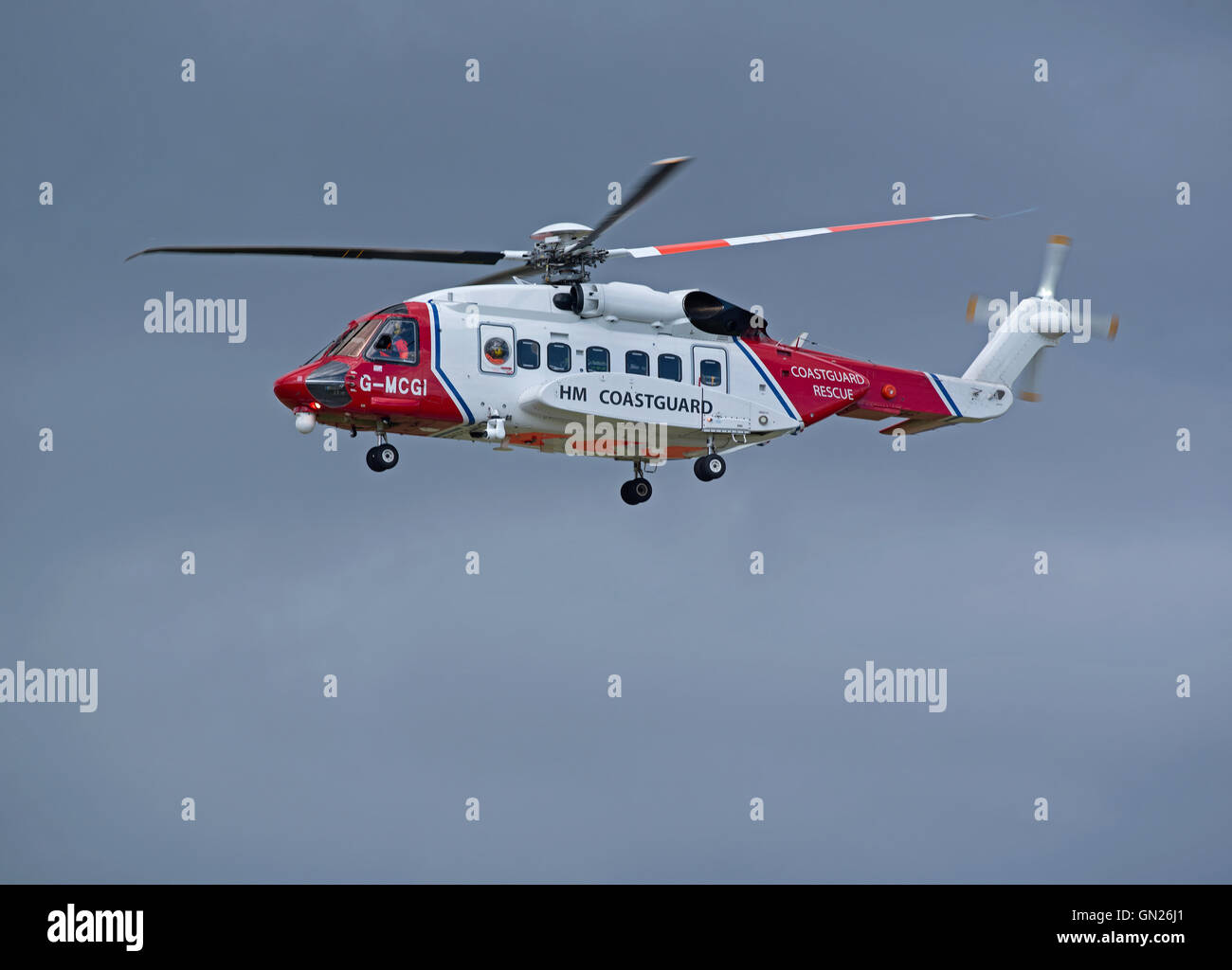 Sikorsky S-92A Coastguard SAR Helicopter (G-MCGI) based at Inverness. SCO 11,201. - Stock Image