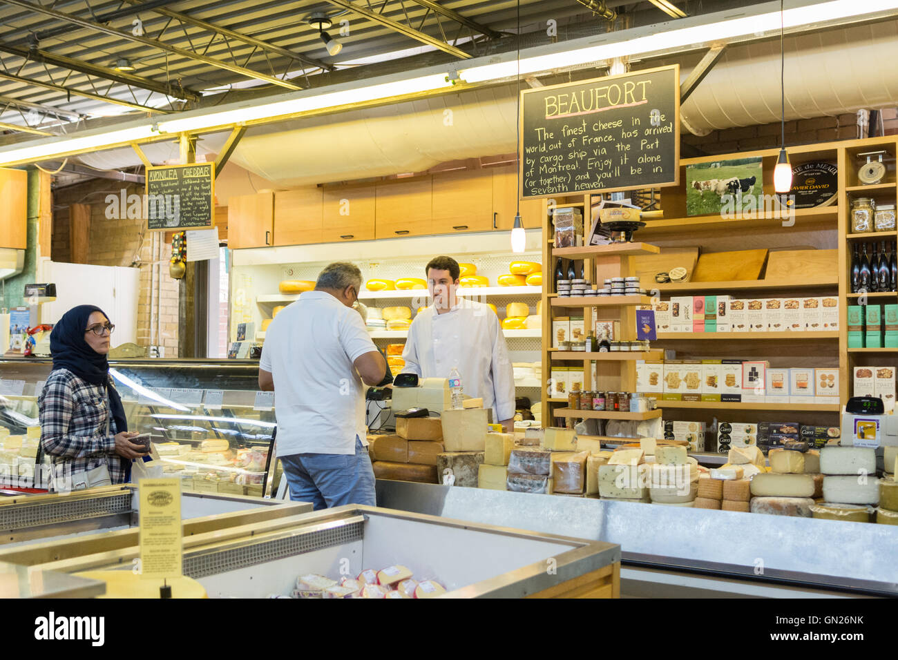 St Lawrence Market, Toronto, Canada - cheese stall - Stock Image