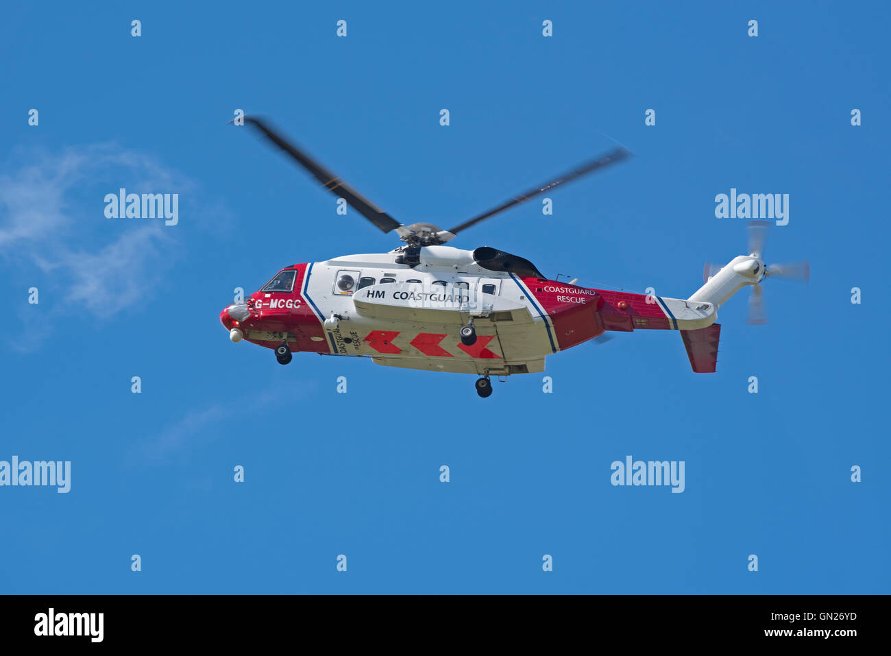 Sikorsky S-92A Coastguard SAR Helicopter (G-MCGC) based at Inverness. SCO 11,205. - Stock Image