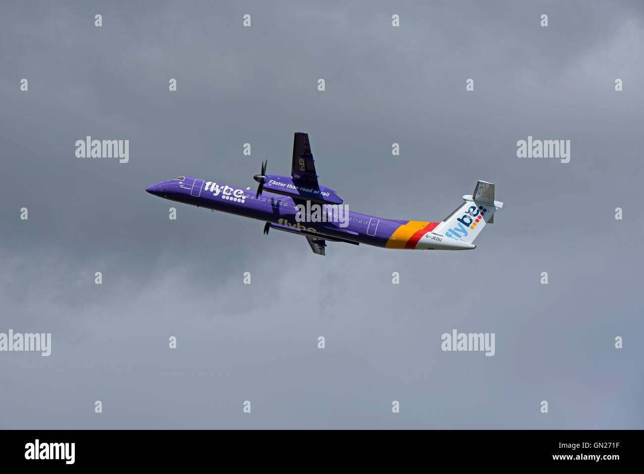 Bombardier 8-402 Q400 Dash Eight (G-PRPL) Flybe Turboprop Airliner. SCO 11,206. - Stock Image