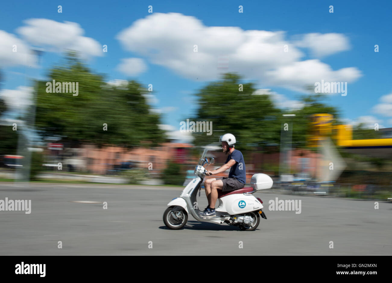 Hamburg Germany 19th Aug 2016 A Man Drives A Scooter By Scooter