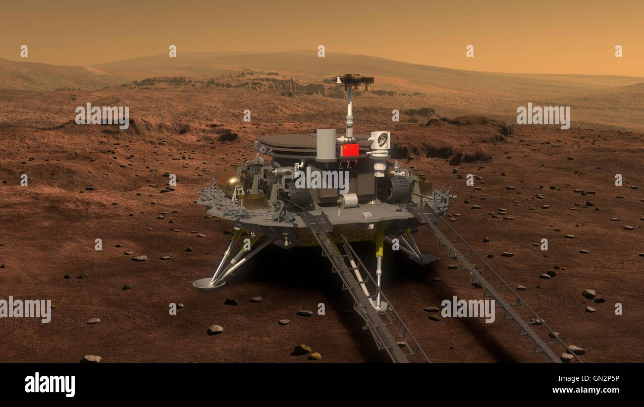 Beijing, China. 28th Aug, 2016. Picture released on Aug. 23, 2016 by lunar probe and space project center of Chinese State Administration of Science, Technology and Industry for National Defence shows the concept portraying what the Mars rover and lander would look like. © Xinhua/Alamy Live News Stock Photo