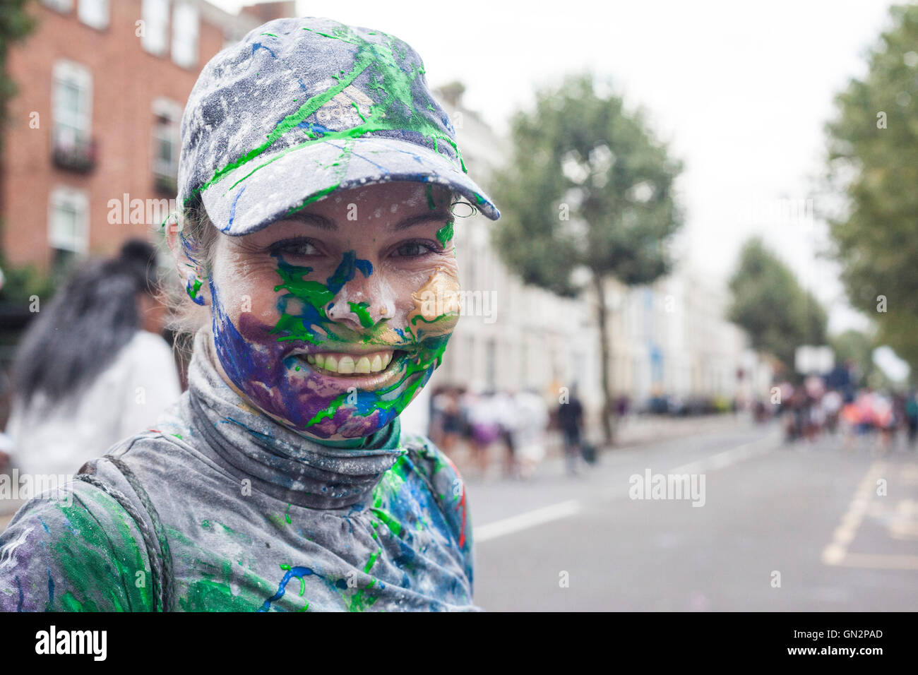 London, UK. 28 August 2016. The traditional early morning Jouvert Parade kicks off the first day of Notting Hill - Stock Image