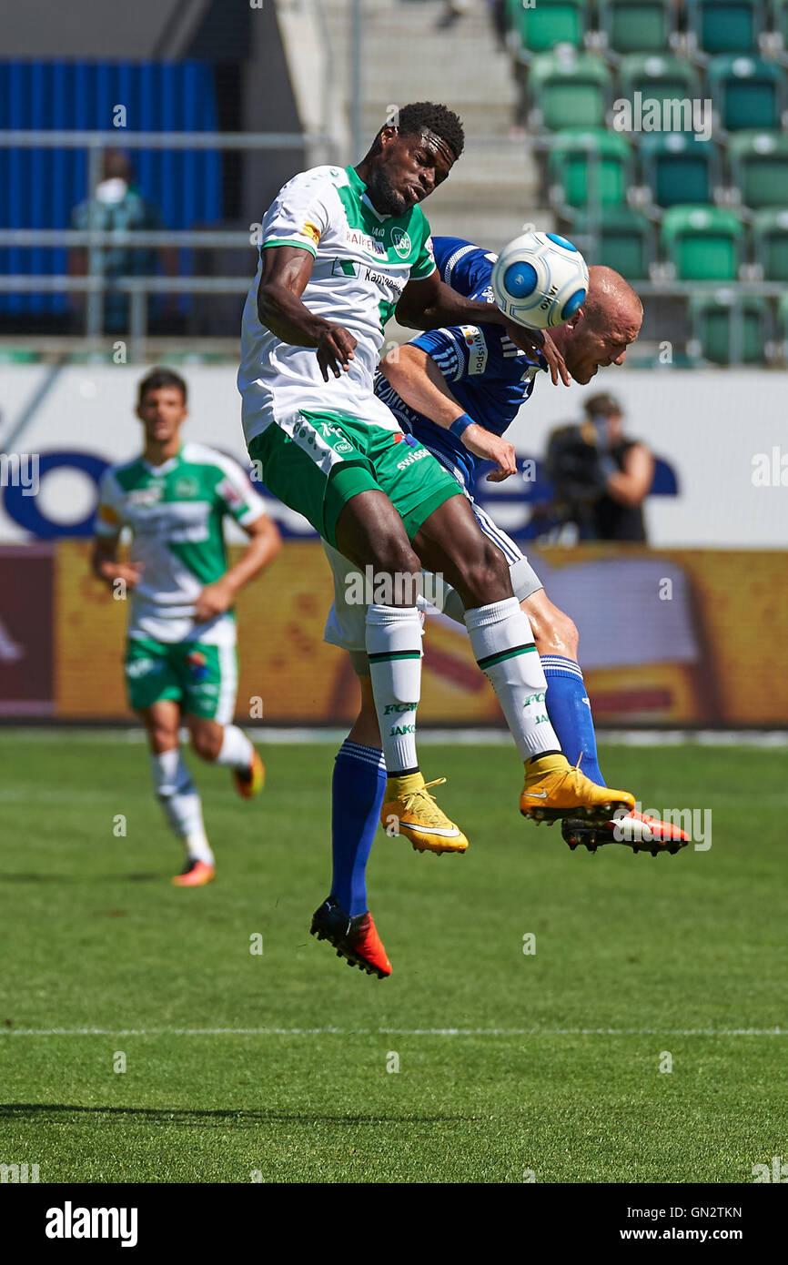 St. Gallen, Switzerland. 28th August 2016. Kofi Schulz and Marco Schneuwly during the Raiffeisen Super League Match - Stock Image