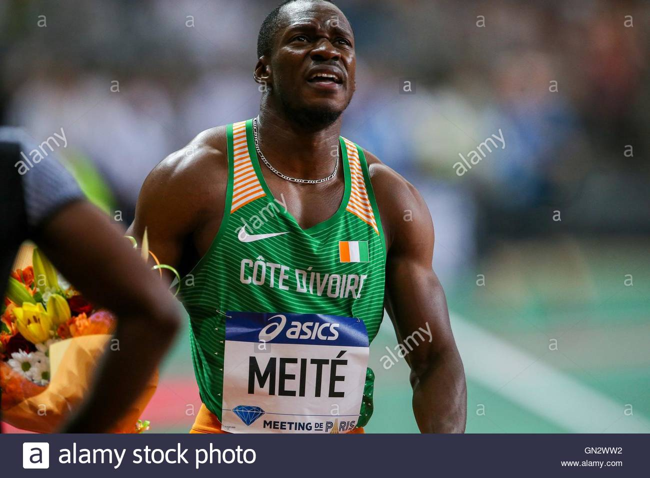 Saint Denis, France. 27th Aug, 2016. Ivory Coast's Ben Youssef Meite reacts after the men's 100m at the - Stock Image