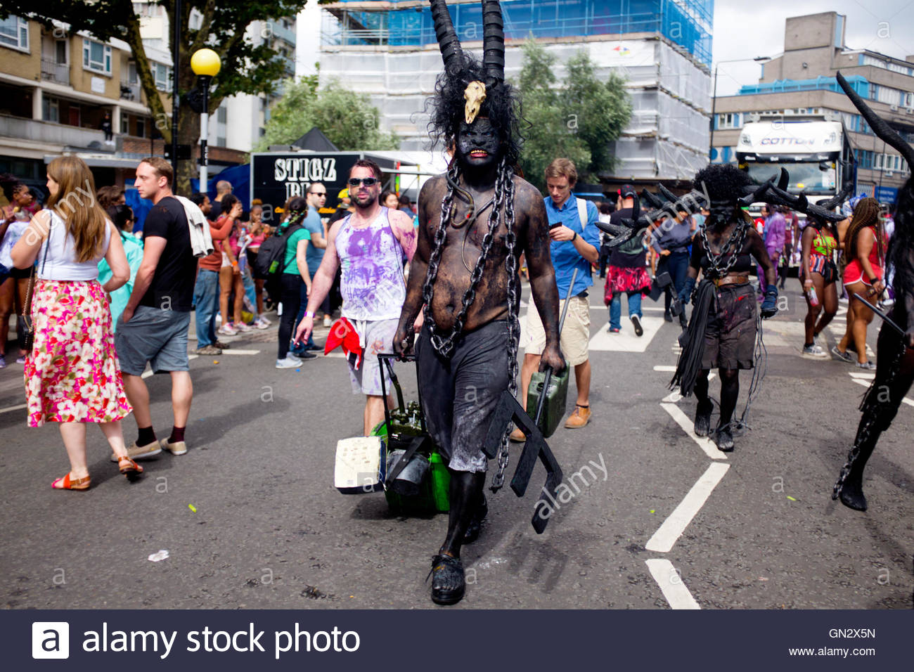 Reveler in costume at the 50th Notting Hill Carnival, London, 2016. Credit:  wayne Tippetts/Alamy Live News - Stock Image