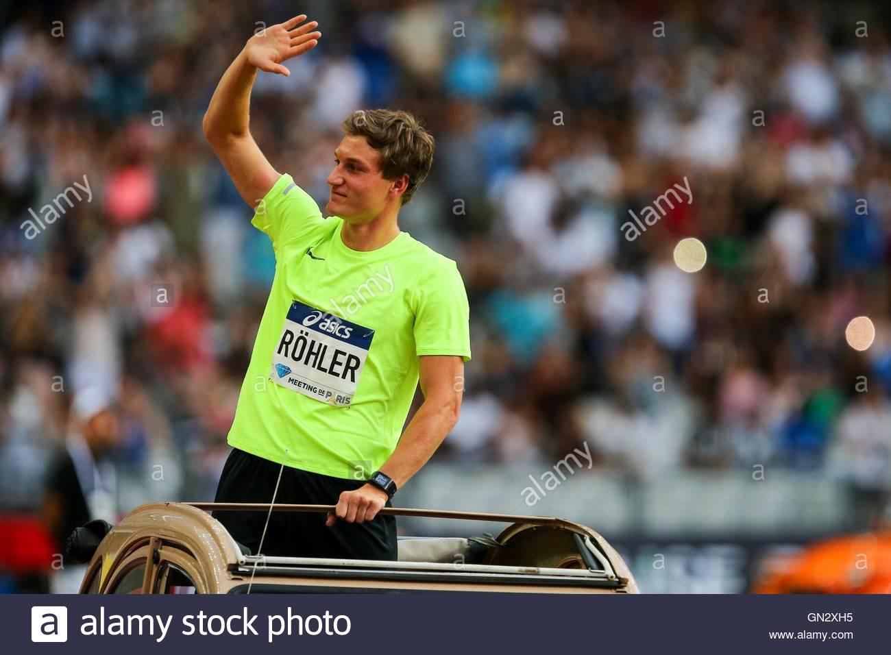 Saint Denis, France. 27th Aug, 2016. German javelin thrower Thomas Röhler parades in the Stade de France - Stock Image