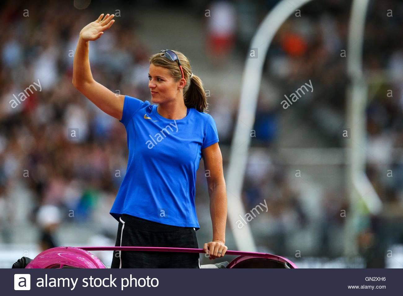 Saint Denis, France. 27th Aug, 2016. Dutch heptathlete Dafne Schippers parades in the Stade de France on August - Stock Image
