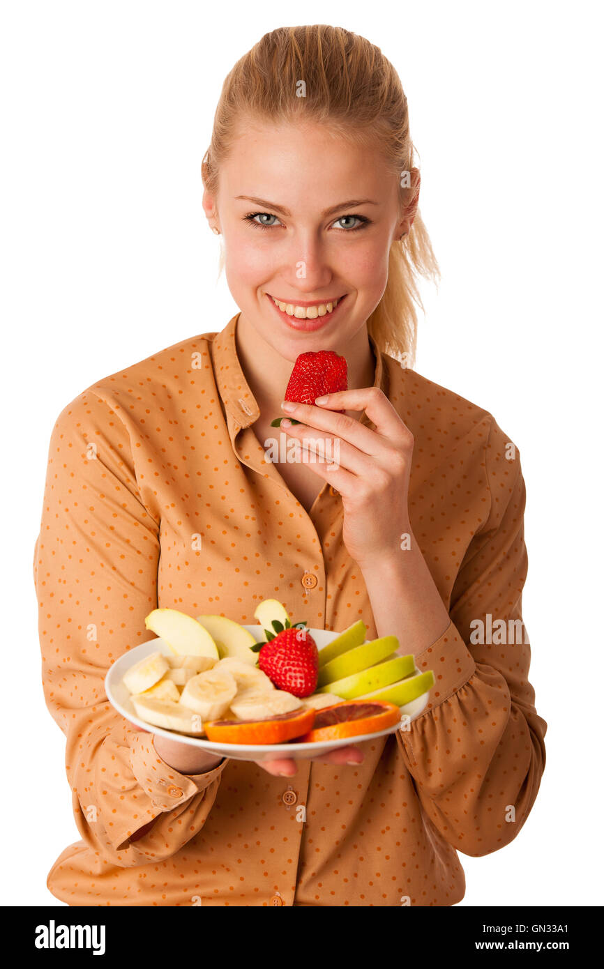 Beautiful Young Caucasian Blonde Woman Holds A Delicious