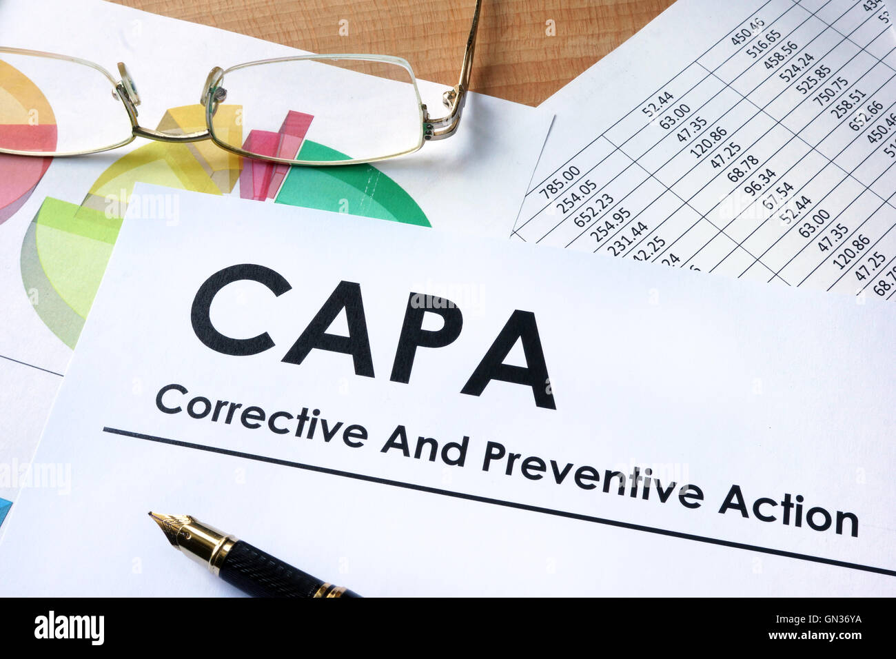 Paper with words CAPA Corrective and Preventive action plans - Stock Image