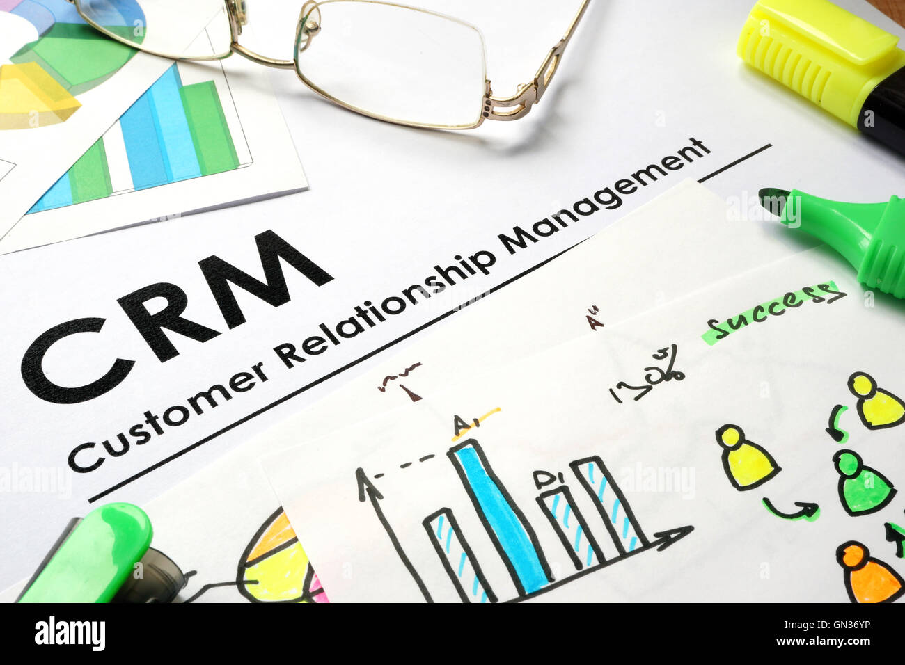 Paper with words CRM customer relationship management. - Stock Image