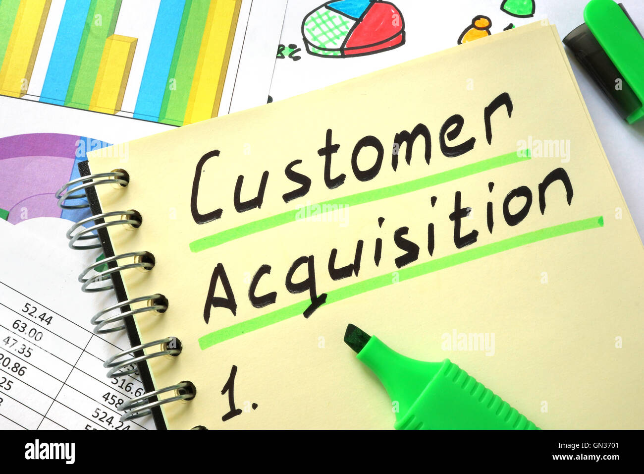 Notebook with  sign customer acquisition and charts. - Stock Image