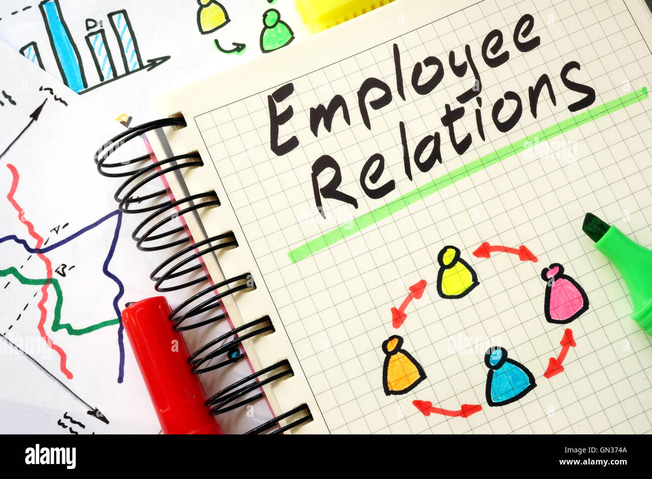 Sign employee relations on a page of notebook. - Stock Image