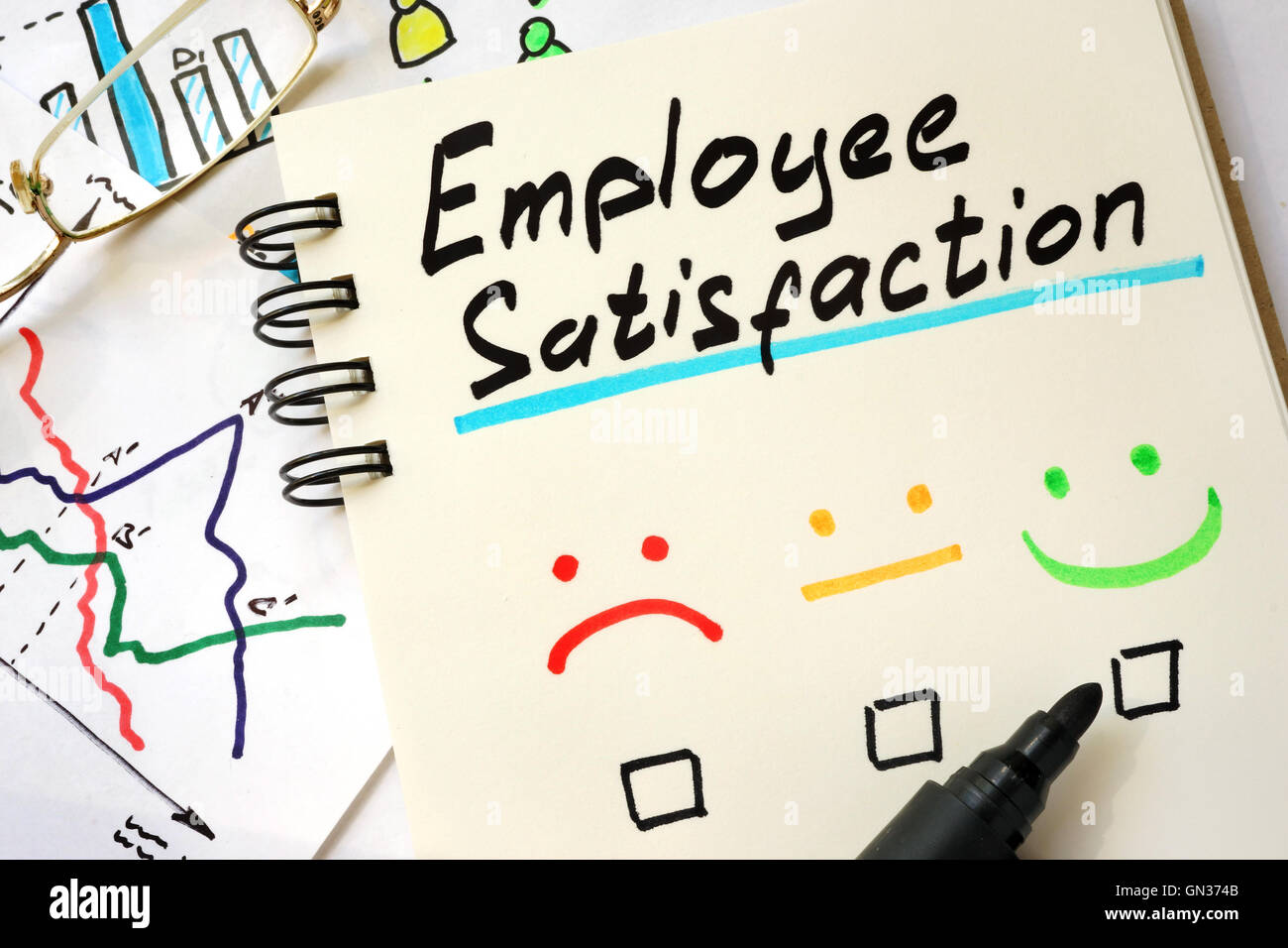 Sign employee satisfaction on a page of notebook. Stock Photo