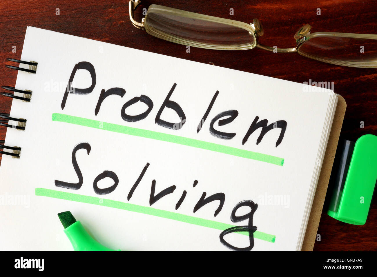 Problem solving sign written in a notepad. - Stock Image